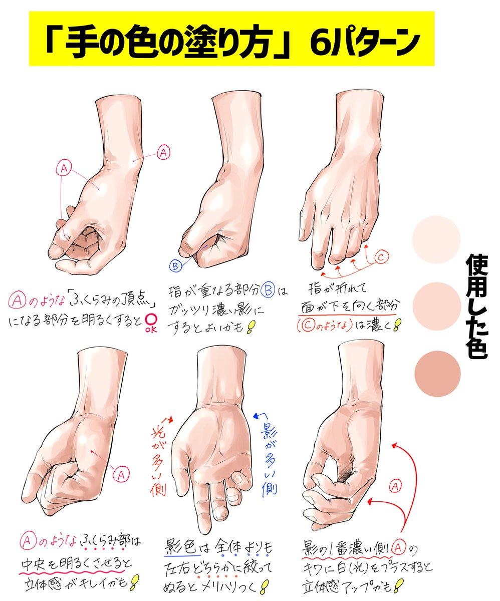 【自然に下ろす手】の描き方🤜  自然体の手を綺麗に描きたいときの  「ダメかも❌」と「良いかも⭕️」