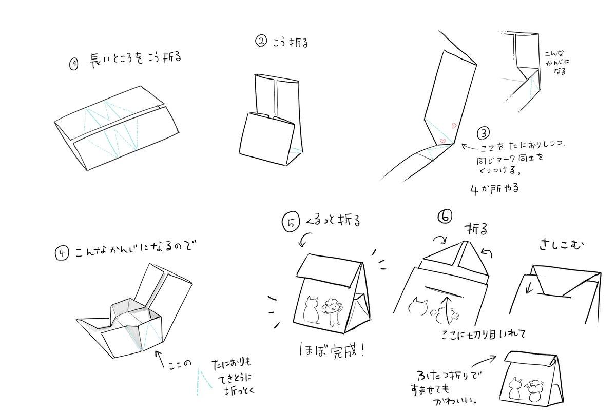 プリントアウトして、折るだけで作れる袋を描きました