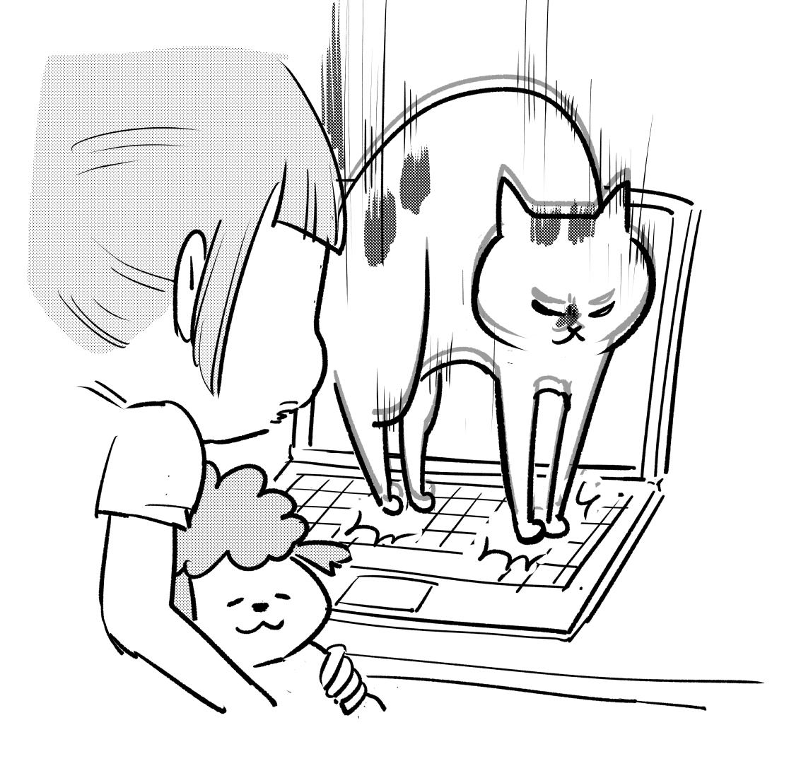 怖い映画みる時とか、動物いるといいよね。