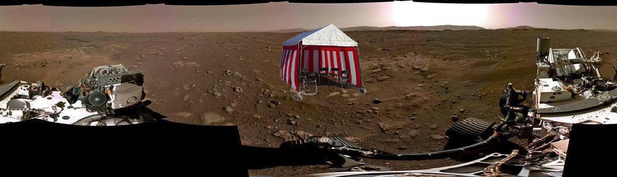 火星の画像に地鎮祭のテントを合成すると、めちゃくちゃ親近感が湧く