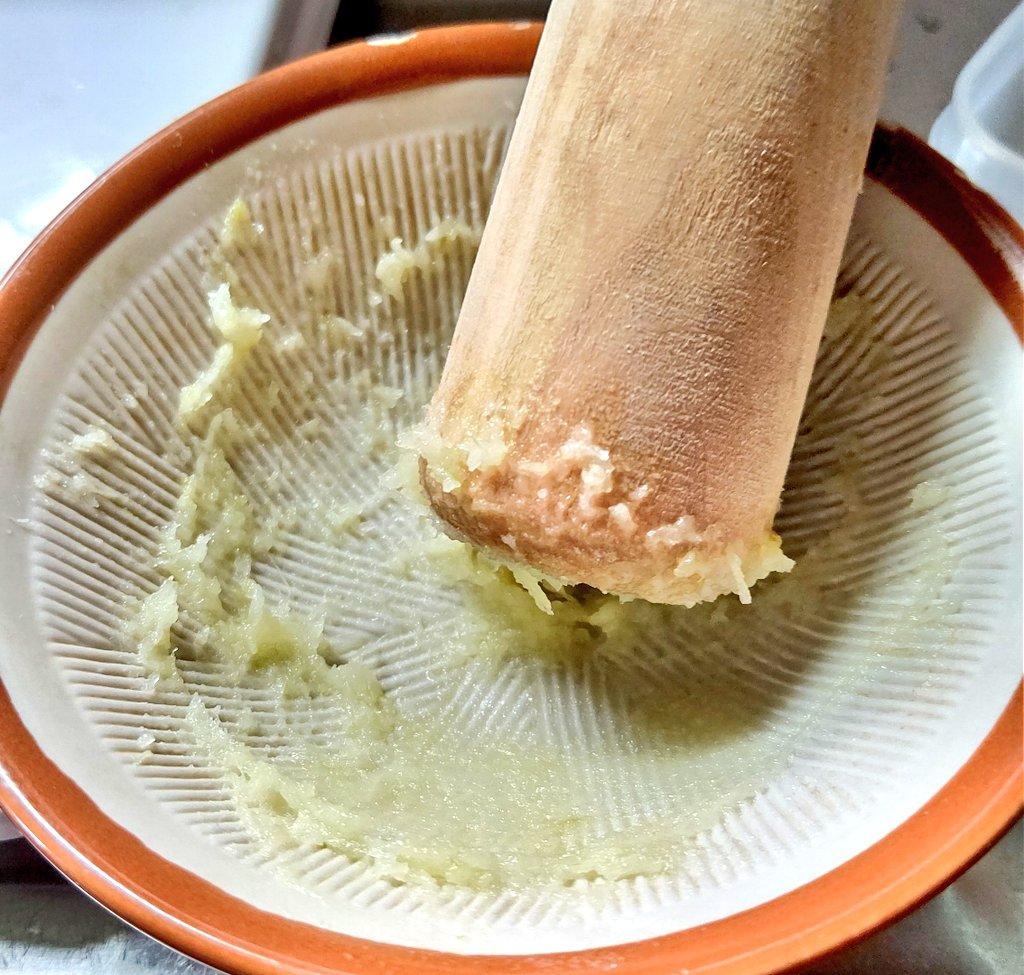 皮を剥き すり鉢ですったモノ…を 蕎麦汁や味噌汁にINして食す