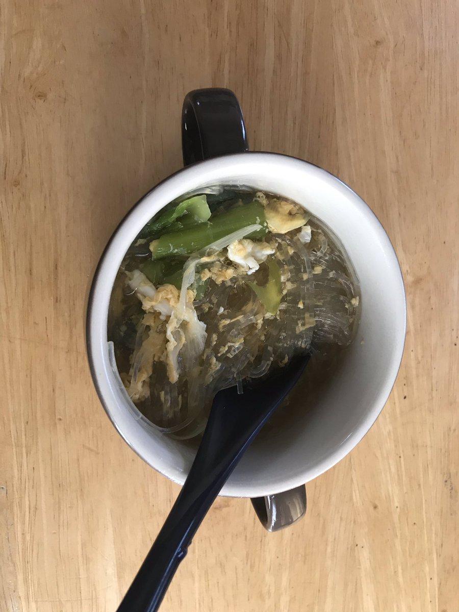 美味しくなさそうな飯テロ……  おとは特製 「野菜たくさんのかきたま春雨スープ」  味はおいしい(