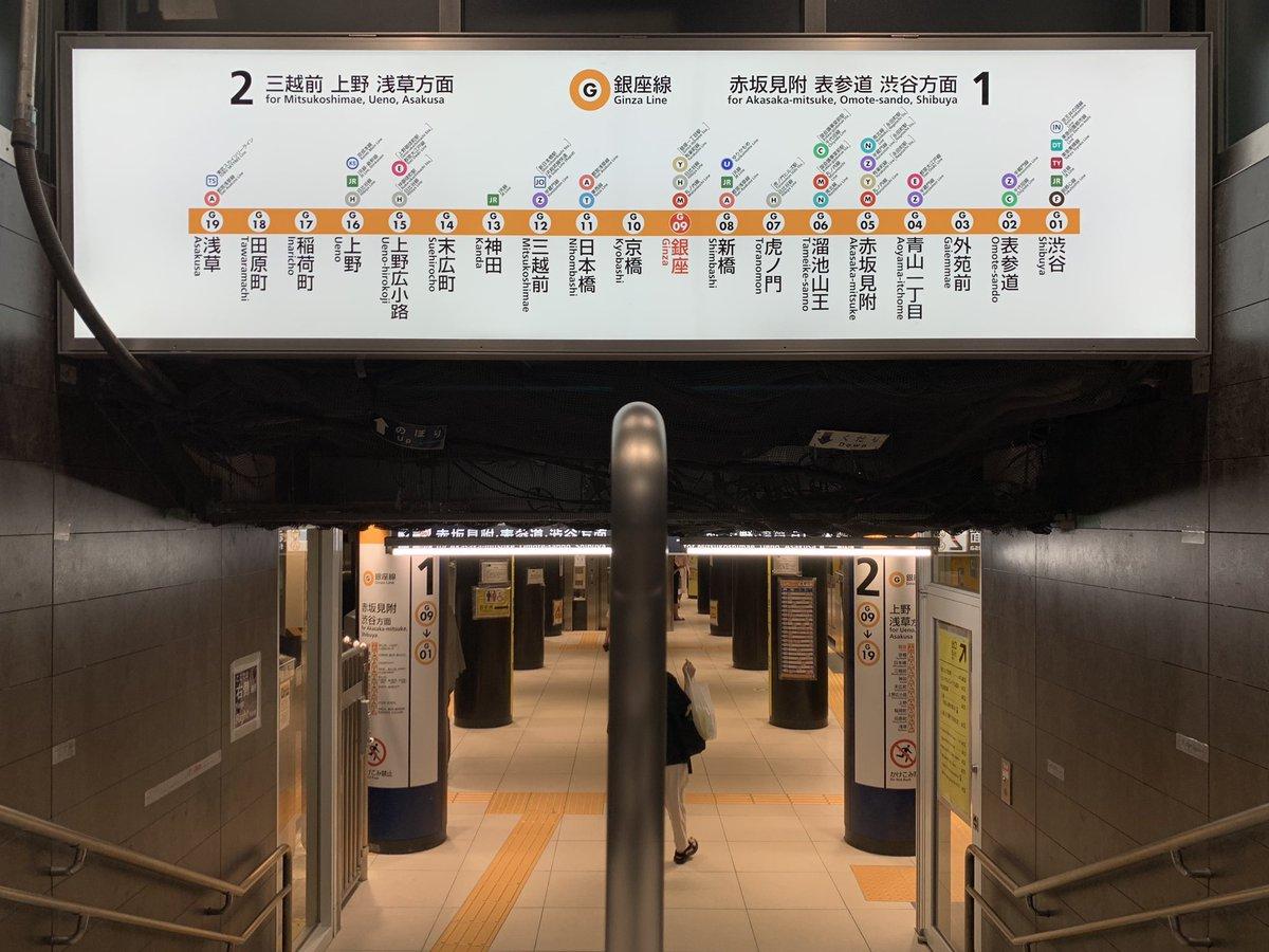 この前はじめて「逆方向の電車に乗る」というミスを銀座駅で犯してしまったんだけど、きょうやっと理由がわかった