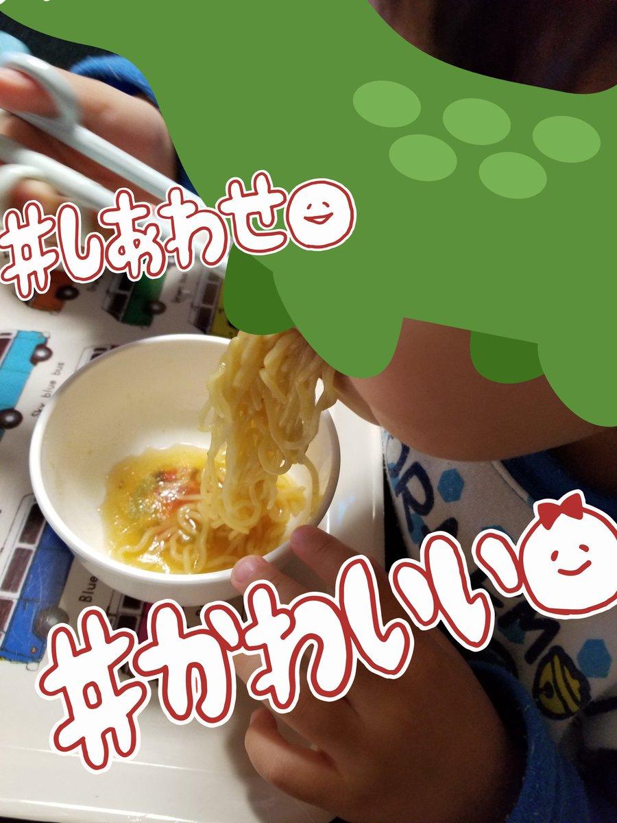 お土産の高山ラーメン食べてるダイナソー 今度高山連れてって食べさせてあげたいな〜