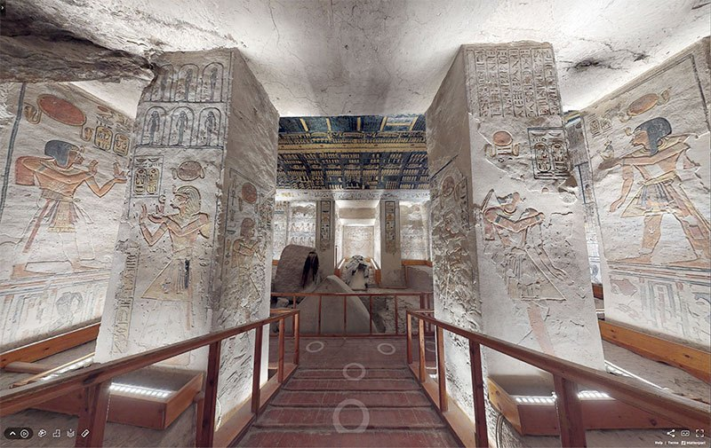 エジプト政府観光局が、ラムセス6世の墓の内部の3Dバーチャルツアーを公開しています