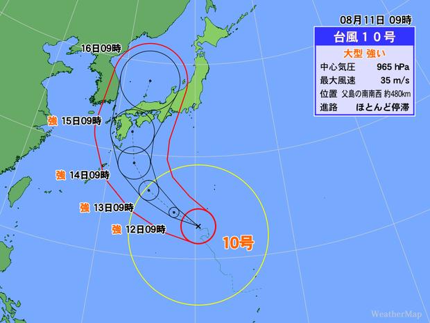 【上陸のおそれ】「危険な3要素」全て持つ台風10号、最大限の警戒が必要   「勢力が強い」「規模が大きい」「速度が遅い」と、ひとつでもあれば危険な要素を3つとも持っているという