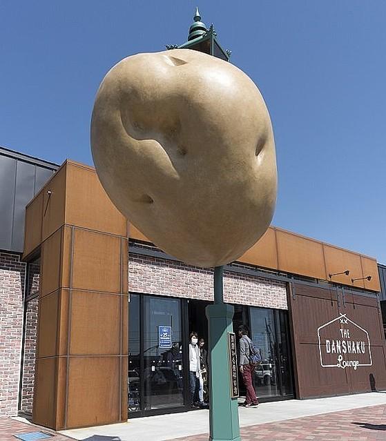 【実在】ジャガイモが街灯に衝突したオブジェ、雑コラに見えると話題に 北海道   「地球外にある男爵いもの小惑星が、地球に落下してきた」という設定
