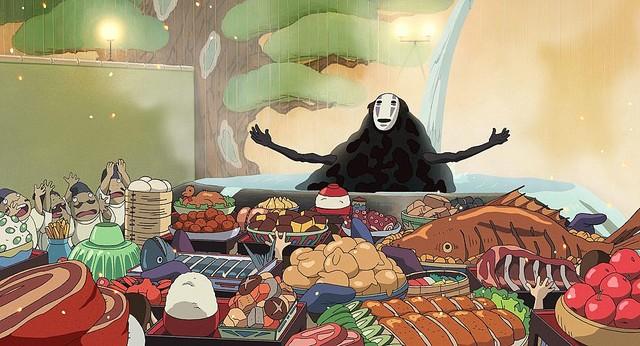 【あ…あ…】『千と千尋』カオナシに食べさせるバランスゲーム登場   あげられるのは魚、鶏肉、イカ、謎の料理の4種類で、カオナシが傾いて口の中の料理を落とした人が負け