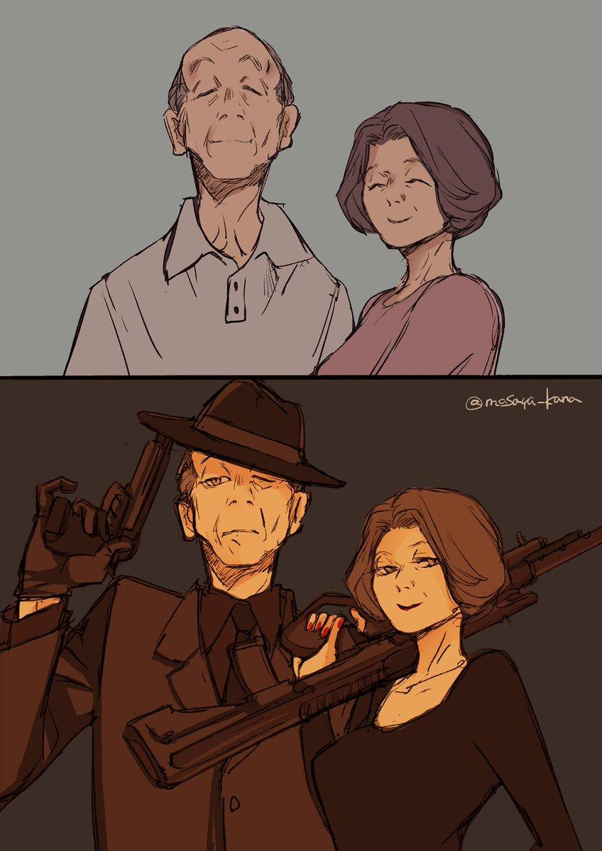 敬老の日なのでカッコイイ老夫婦描きました