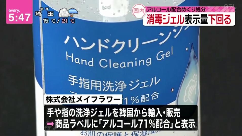 【ウソ表示】消費者庁は、株式会社メイフラワーが韓国から輸入・販売した「ハンドクリーンジェル(300mL)」について、景品表示法違反が認められたことから措置命令を行った