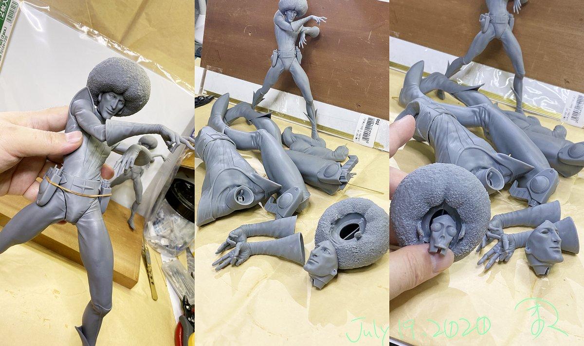 3Dプリンターで出力して仮組み❣️ scale1/6のアンドロー梅田です☄️ ちょっとデッサンなおして再度プリントしてから彩色するのだっ #sonicXL4K #宇宙の騎士テッカマン #タツノコプロ #天野嘉孝
