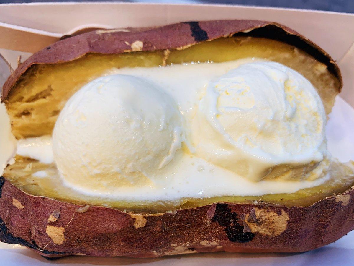 ホクホクのねっとり甘い焼き芋にアイスが染み込むとクリーミーな甘味が増して相性抜群