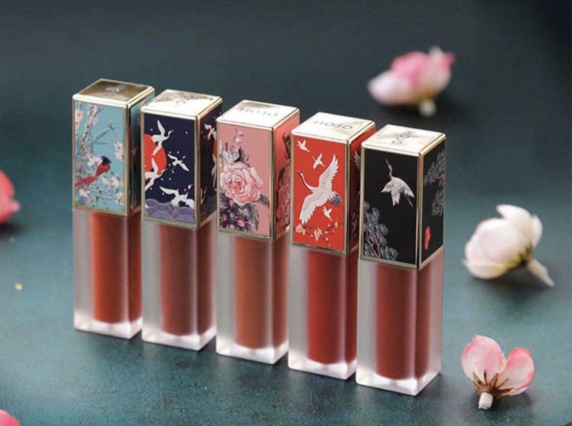 """中国コスメ""""HOJO""""のリップ それぞれ色味が最高に可愛いし、 なによりパッケージが美しすぎる… 日本にもっとこのブランドを広めたい"""