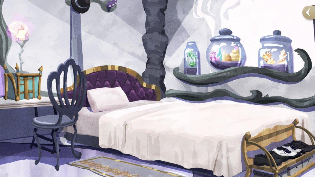 オクタ全員の部屋綺麗に撮れた✨ アズールはさすが寮長って感じ ジェイドとフロイドはやっぱり同じ部屋を2人で使ってると思う