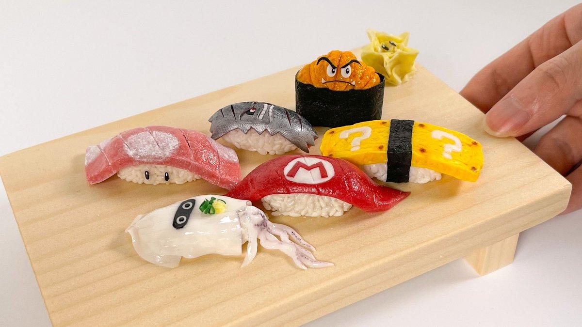 樹脂粘土で、マリオなお寿司を作りました