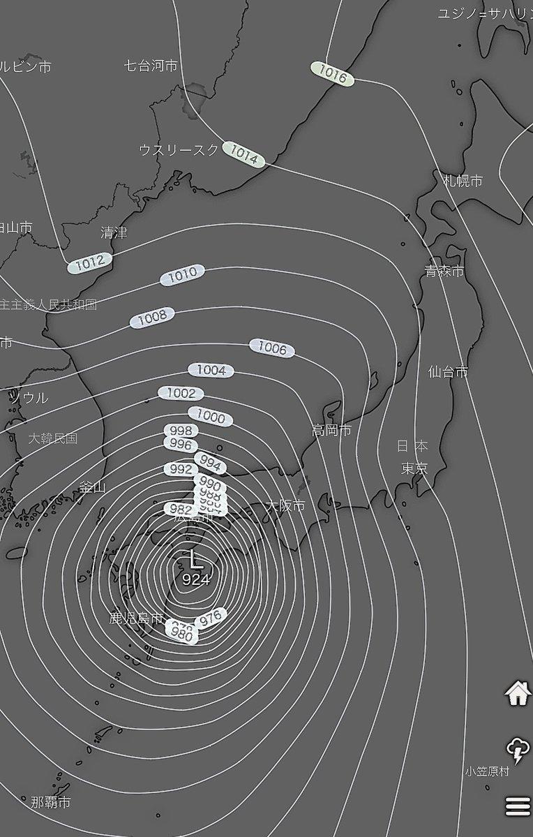 台風10号、9月6日18時 ヨーロッパ中期予報センター(長期予報が一番当たる予報機関です)  四国付近で924hPa 日本の気象庁の分類で「超大型で猛烈な台風」に相当