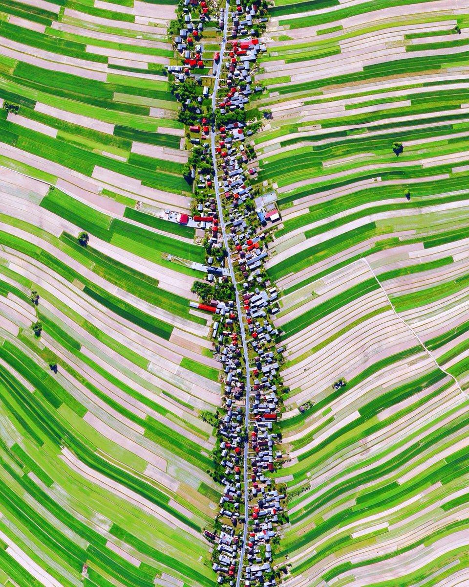 ポーランド南部の道路に沿う集落と周辺の農地の空撮写真