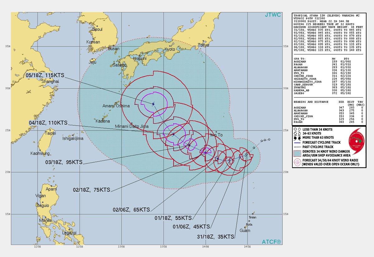 台風10号(仮)の予想がJTWCから出ました 今のところ西日本直撃コース