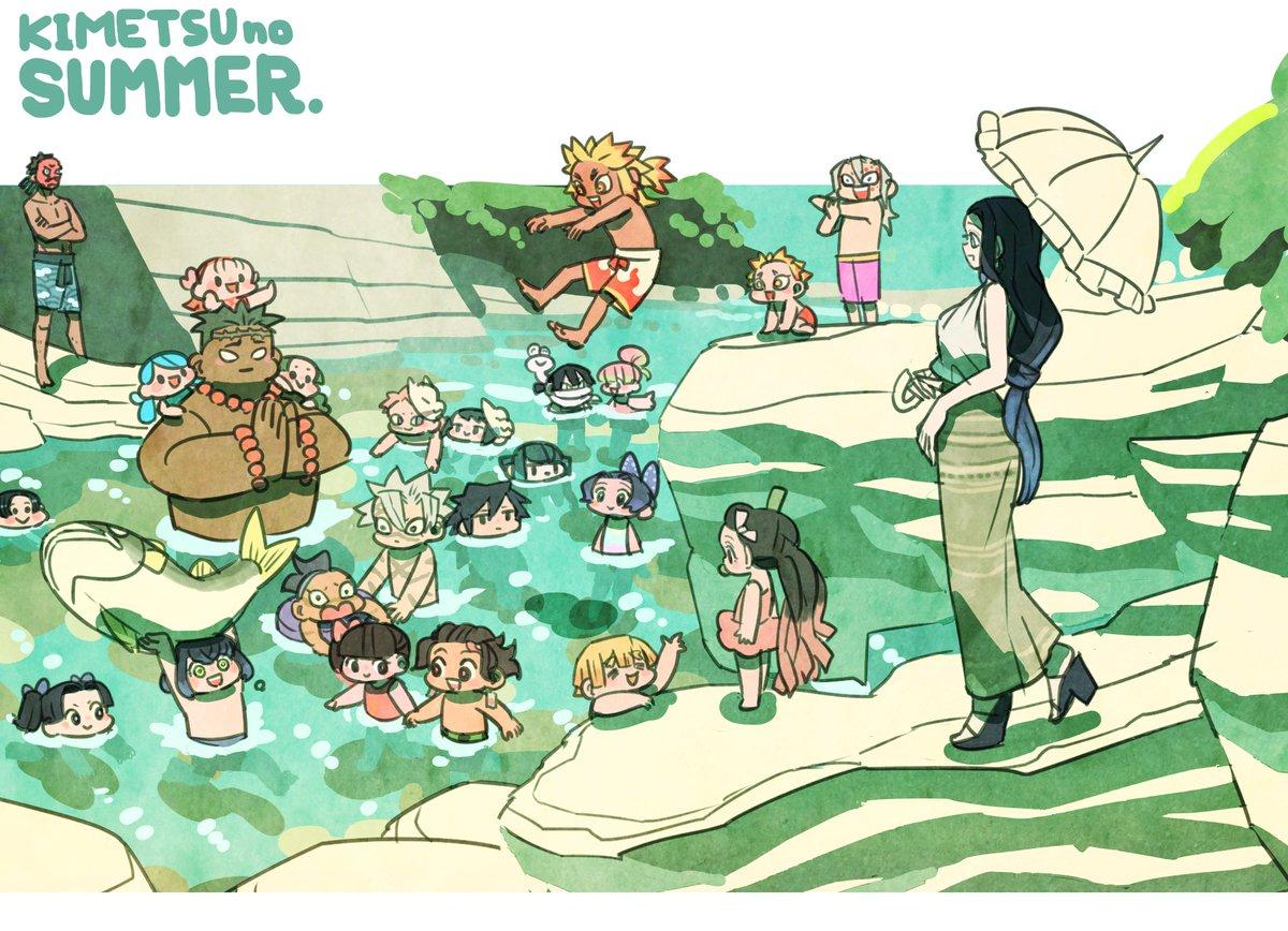 「鬼滅の夏」 ユヰフさんの素敵タグに参加するつもりが、嘴平親子以外に沢山描き過ぎたので、 タグ無しで🐗