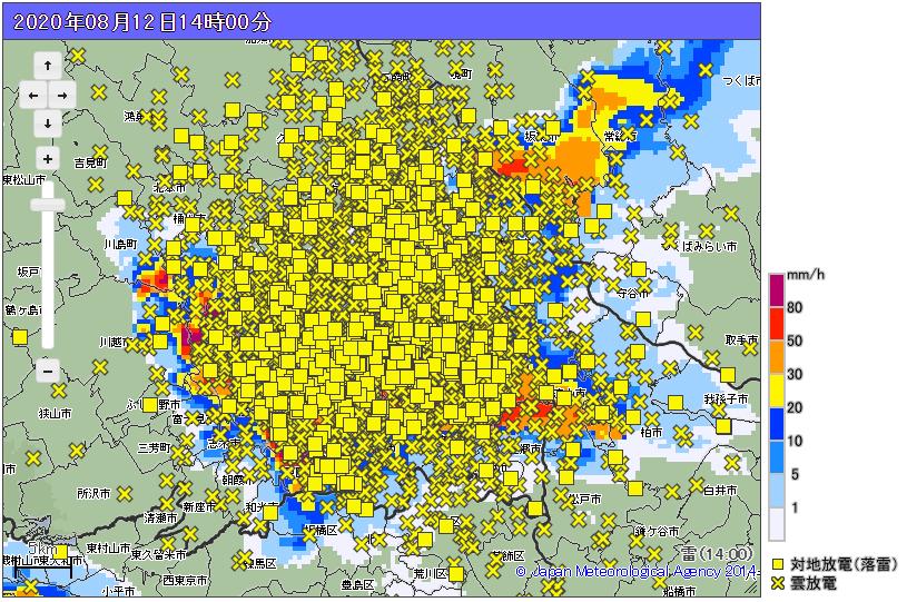 地図中の■マークが「落雷」を表しているんですが、もはやどこがどこだかわからないほど…