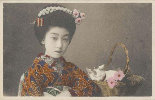 ねこと写真を撮る昔の日本人。