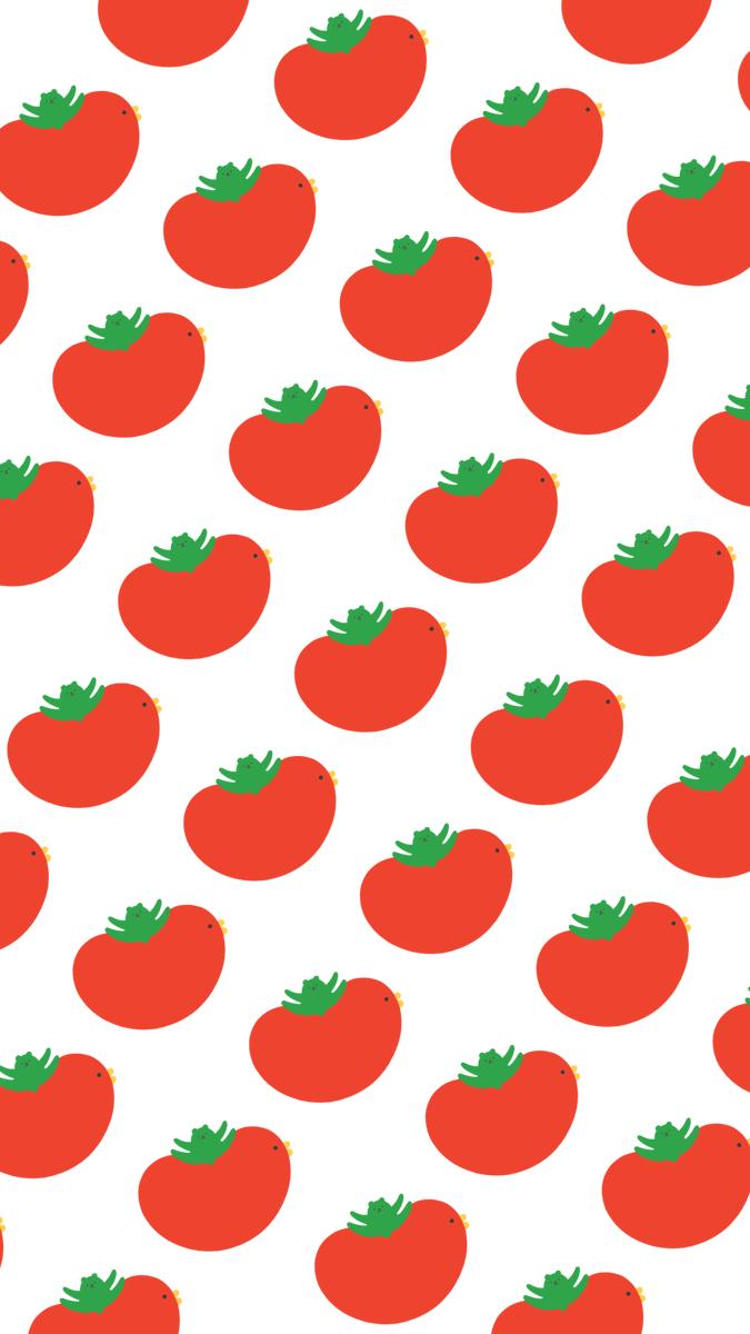 トマトとみせかけてビッグな鳥にテンションがあがるクマ柄です🍅