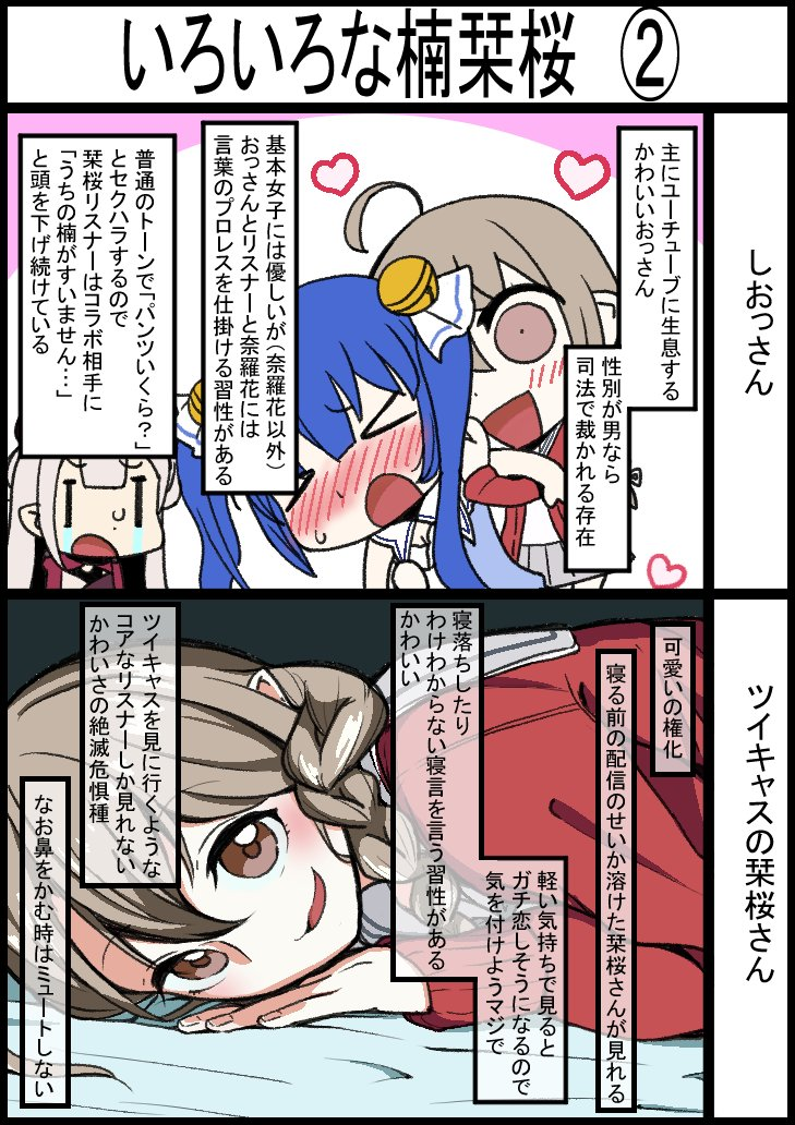 楠栞桜たくさんいてわからないよ、という初見さんのために楠栞桜をまとめました #さくらのしおり    #楠栞桜