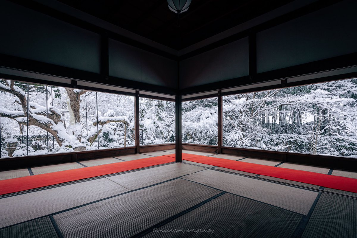 京都宝泉院の雪景色 部屋越しの銀世界が美しい