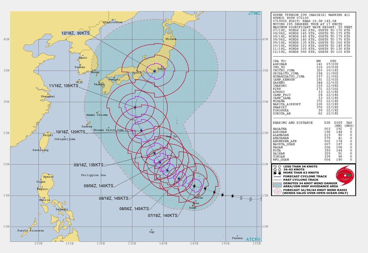 関東直撃って、東京直撃っぽい。 米海軍の台風19号予想進路