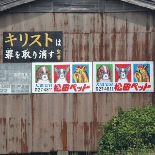 新潟の一部地域に出没する松田ペットの看板、全部が手描きらしくて犬の顔が全部違ってんの笑うムリ