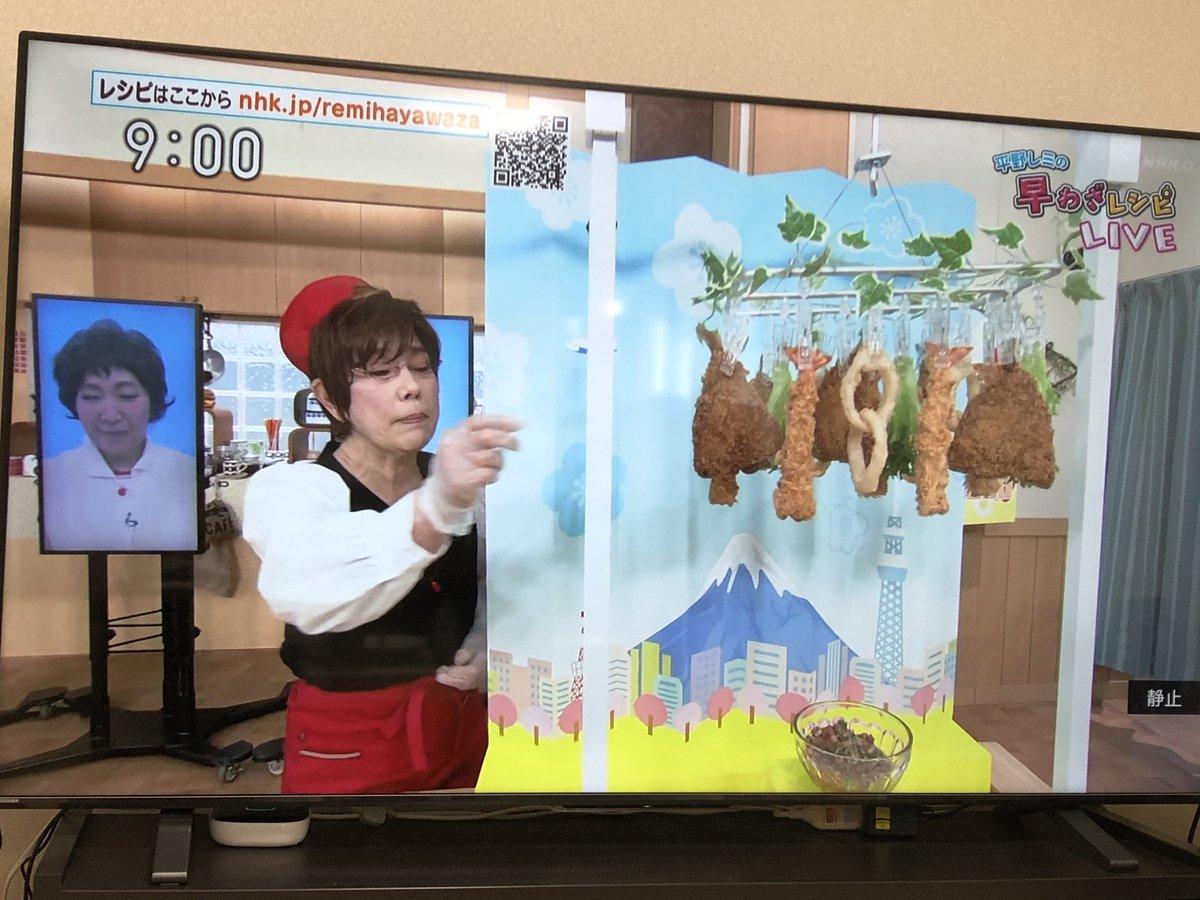 チャンネルザッピングしてたら、平野レミがアジフライやらエビフライをハンガーに吊るしてる映像が流れてきたんだけど、高熱が出たときの夢かなにか