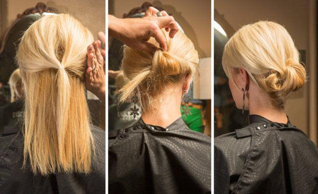 耳元の髪の毛を後ろで結びます。結び目から下の髪の毛をすべて結び目の上に通し穴に通します。出た髪の毛を適当にピンで留めるだけ!