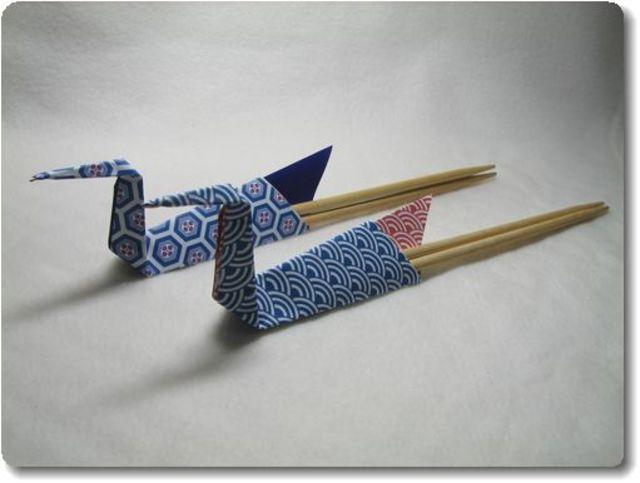 すべての折り紙 箸入れ 作り方 折り紙 : 立体的な鶴の形がキュート。袋 ...