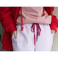 CHIHIRO YASUDA | ストライプテーパードパンツ(pink)