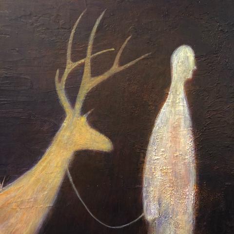 Sabian symbol 93 - A man all bundled up in fur leading a shaggy deer