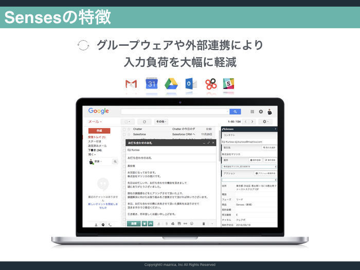GsuiteやOffice365などのグループウェア、チャットワークやSlackなどのチャットツール、Sansanなどの名刺管理ツールと連携しており、入力負荷を軽減することが可能です。