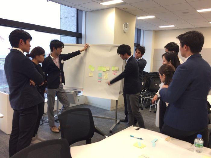 昨年開催したセミナーの一部です。学生と社会人が共同で問題解決に関するブレストを行っています。