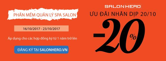 Ưu đãi 20/10, giảm giá 20%, phần mềm quản lý Salon Spa, SalonHero