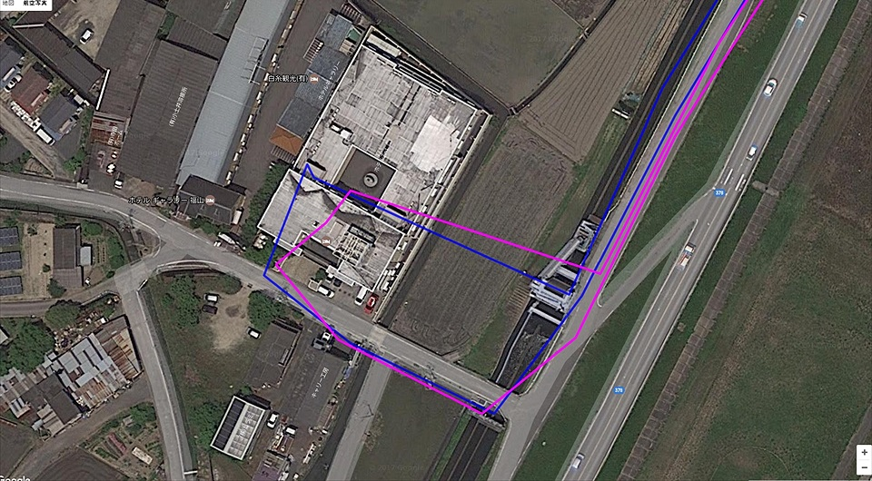 立ち寄り先建物の航空写真