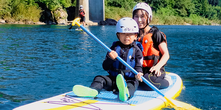 清流長良川でのんびりと癒させる「ファミリーSUPクルージング」のイメージ