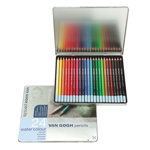 ヴァンゴッホ水彩色鉛筆 24色セット(メタルケース)