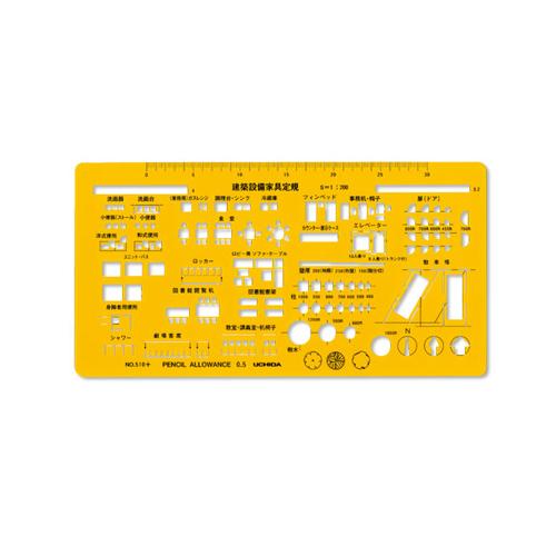 ウチダテンプレート No.510+ 建築設備家具定規(7-440-0510)