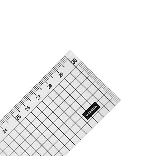 ウチダ 端目盛り定規[方眼]30cm型(7-460-0013)