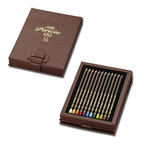 三菱色鉛筆 ペリシア 12色セット(レザーケース)