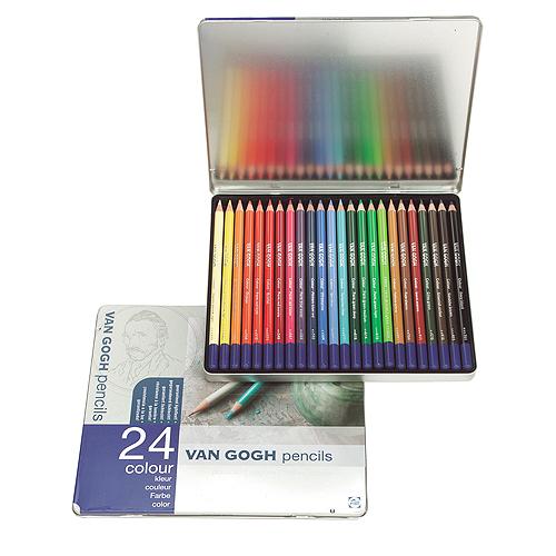 ヴァンゴッホ色鉛筆 24色セット(メタルケース)