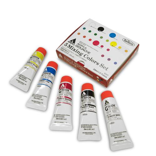 ホルベイン アクリラガッシュ20ml 基本5色セット(D421)