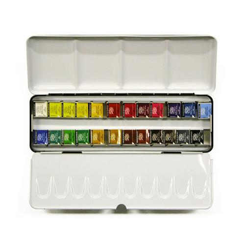 ラウニー 水彩絵具 ハーフパン24色セット(メタルボックス)