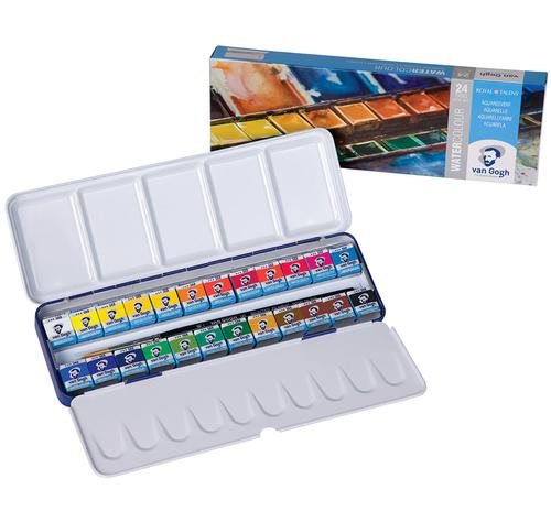 ヴァンゴッホ 固形水彩絵具 24色セット(メタルボックス)