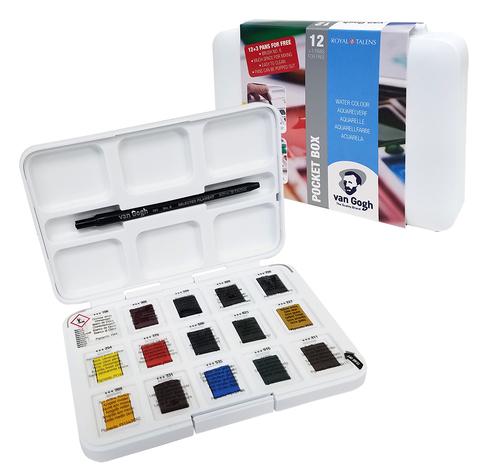 ヴァンゴッホ 固形水彩絵具 12+3色セット(ポケットボックス)