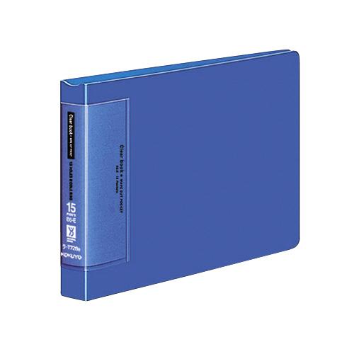 クリヤーブック<ウェーブカットポケット>(替紙式) B6ヨコ 15P 青 [ラ-T728B]